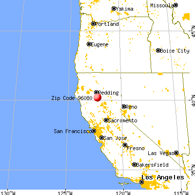 Red Bluff, CA (96080) map from a distance
