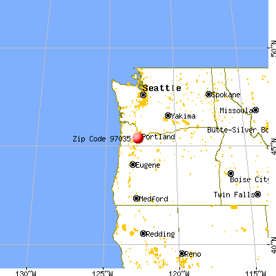 Lake Oswego, OR (97035) map from a distance