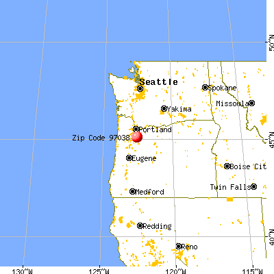 Molalla, OR (97038) map from a distance