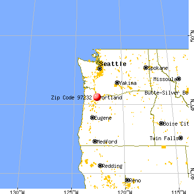 Portland, OR (97232) map from a distance