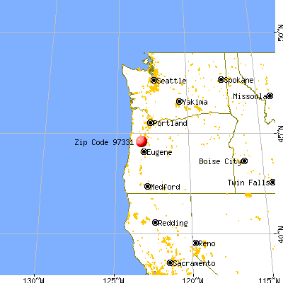 Corvallis, OR (97331) map from a distance
