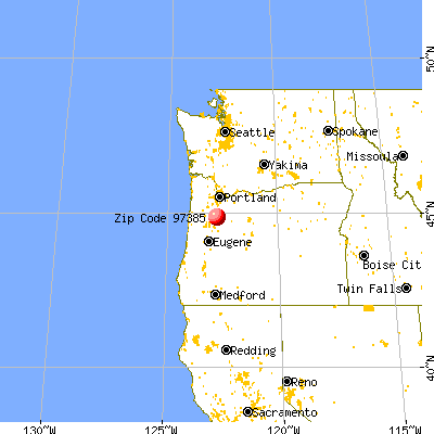 Sublimity, OR (97385) map from a distance