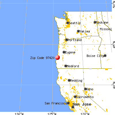 Coos Bay, OR (97420) map from a distance