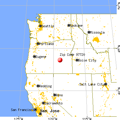 Burns, OR (97720) map from a distance