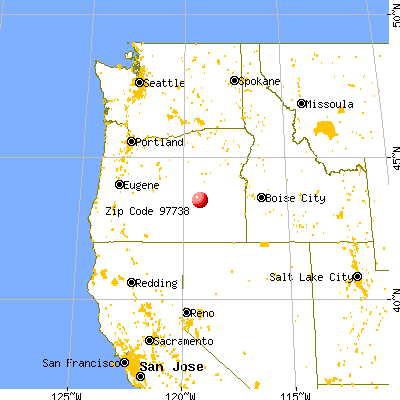 Hines, OR (97738) map from a distance