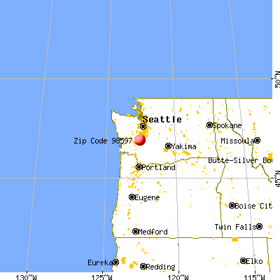 Yelm, WA (98597) map from a distance