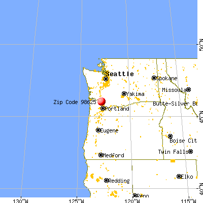 Kalama, WA (98625) map from a distance