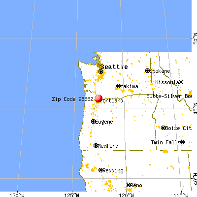 Five Corners, WA (98662) map from a distance