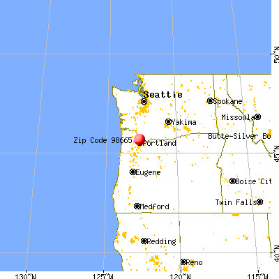 Hazel Dell, WA (98665) map from a distance