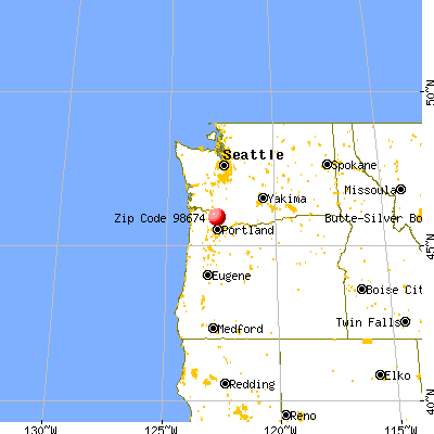 Woodland, WA (98674) map from a distance