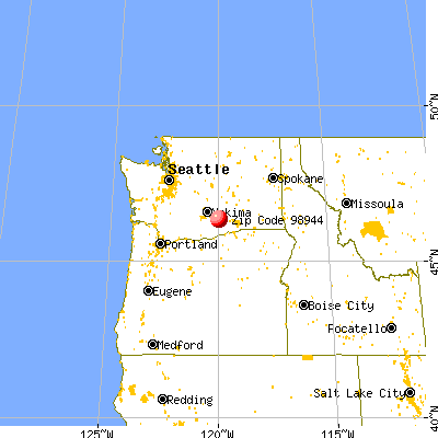 Sunnyside, WA (98944) map from a distance