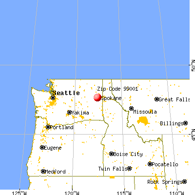 Airway Heights, WA (99001) map from a distance