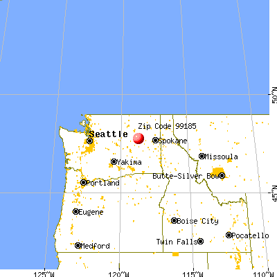Wilbur, WA (99185) map from a distance