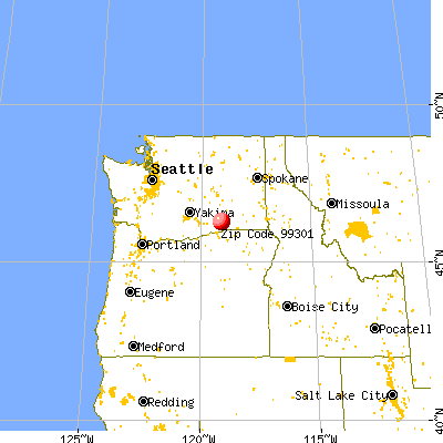 Pasco, WA (99301) map from a distance