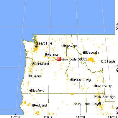 Walla Walla, WA (99362) map from a distance