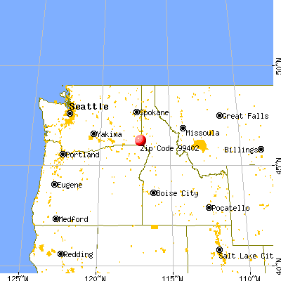 Asotin, WA (99402) map from a distance