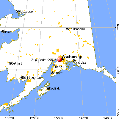 Anchorage, AK (99503) map from a distance