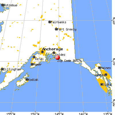 Cordova, AK (99574) map from a distance