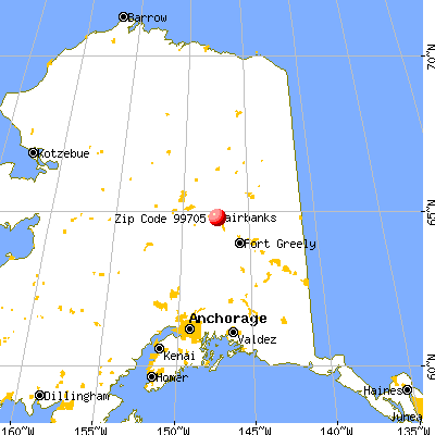 North Pole, AK (99705) map from a distance