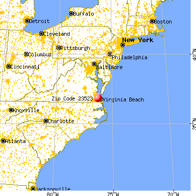 Norfolk, VA (23523) map from a distance