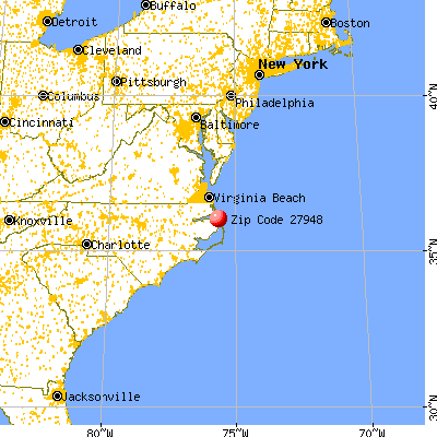 Kill Devil Hills, NC (27948) map from a distance