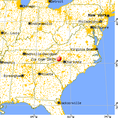 Casar, NC (28020) map from a distance
