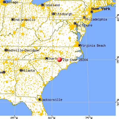 Fayetteville, NC (28304) map from a distance
