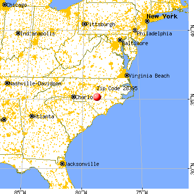 Wade, NC (28395) map from a distance