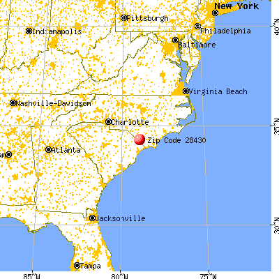 Cerro Gordo, NC (28430) map from a distance