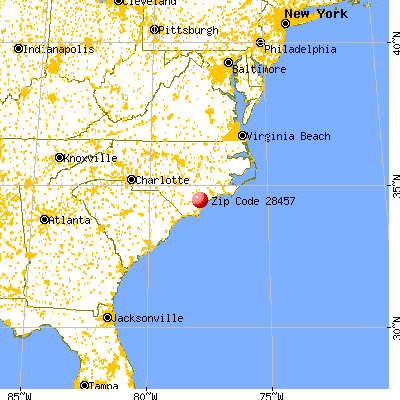 Rocky Point, NC (28457) map from a distance
