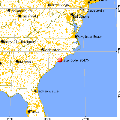 Shallotte, NC (28470) map from a distance