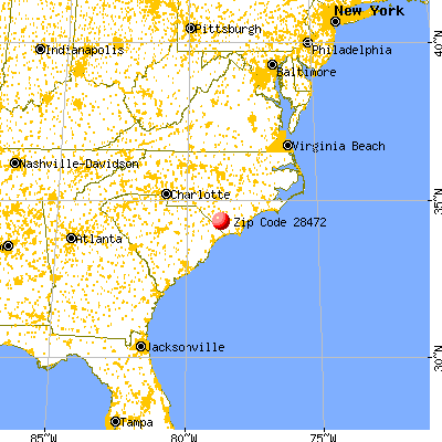 Whiteville, NC (28472) map from a distance