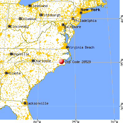 Alliance, NC (28529) map from a distance