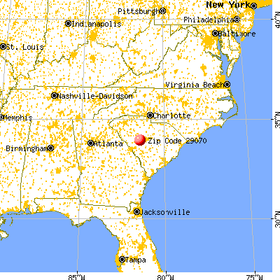 Batesburg-Leesville, SC (29070) map from a distance