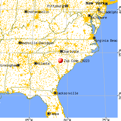Dentsville, SC (29223) map from a distance