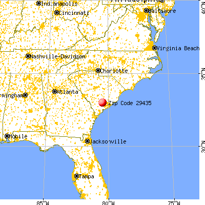 Cottageville, SC (29435) map from a distance