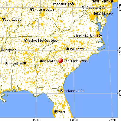 Johnston, SC (29832) map from a distance