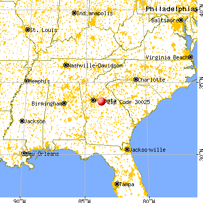 Social Circle, GA (30025) map from a distance
