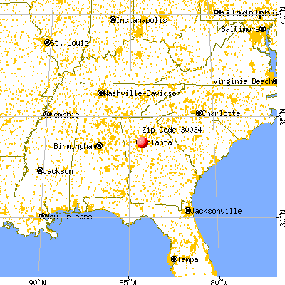 Panthersville, GA (30034) map from a distance