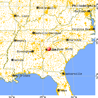 Snellville, GA (30078) map from a distance