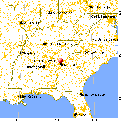 Canton, GA (30114) map from a distance