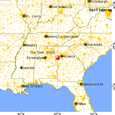 Carrollton, GA (30116) map from a distance