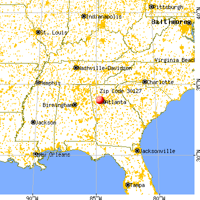 Powder Springs, GA (30127) map from a distance