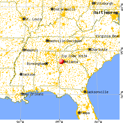 Douglasville, GA (30134) map from a distance