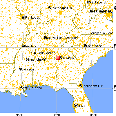 Douglasville, GA (30187) map from a distance