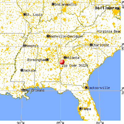 Grantville, GA (30220) map from a distance