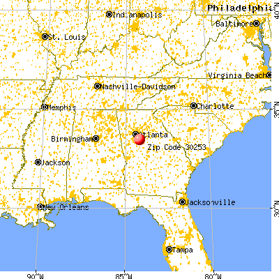 McDonough, GA (30253) map from a distance