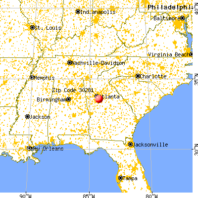 Stockbridge, GA (30281) map from a distance