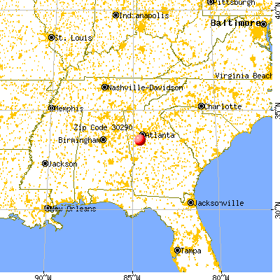 Tyrone, GA (30290) map from a distance