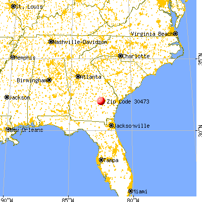 Uvalda, GA (30473) map from a distance